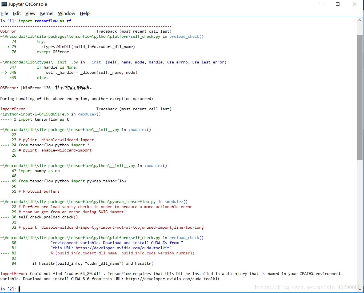 tensorflow报错ImportError: Could not find 'cudart64_80 dll' 或